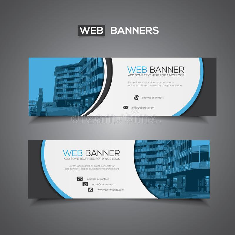 Abstract vector banner for web template or print use as header background. Blue and white business design vector illustration