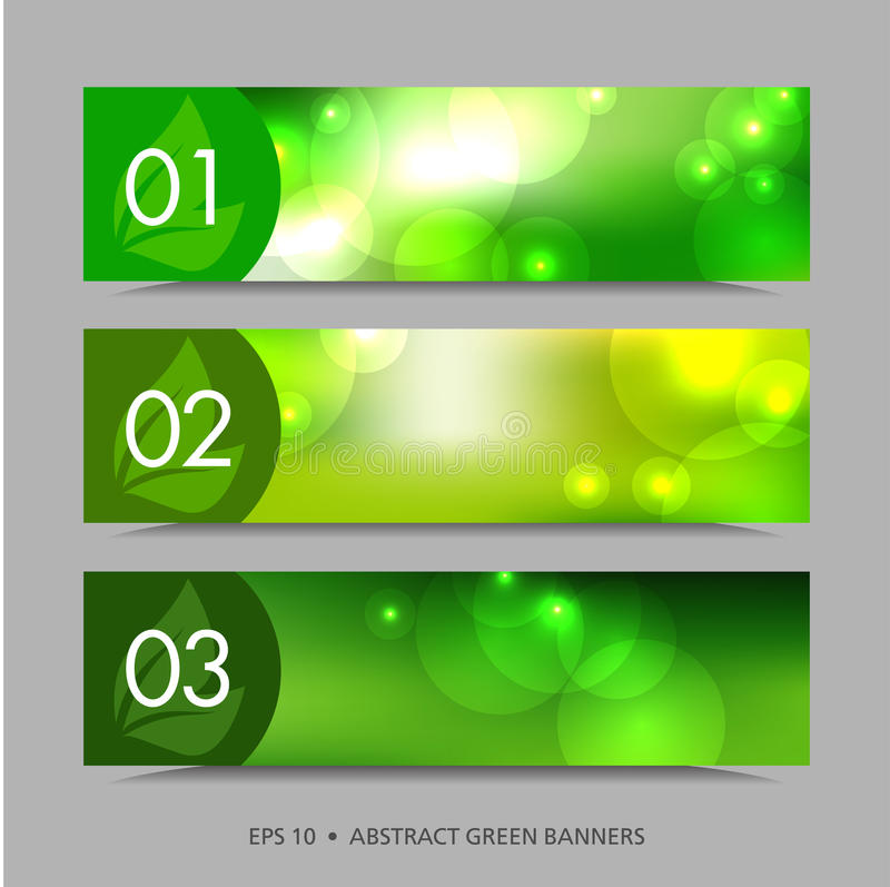 Abstract vector banners. A set of green vector banners with patches of light, 10 eps royalty free illustration