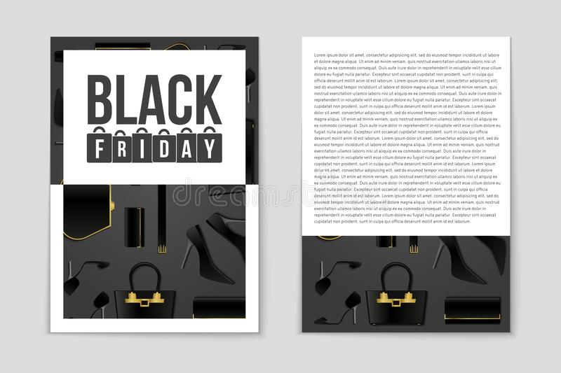 Abstract vector Black Friday layout background. For creative art design, list, page, mockup theme style, banner, concept. Abstract vector 2016 Black Friday royalty free illustration
