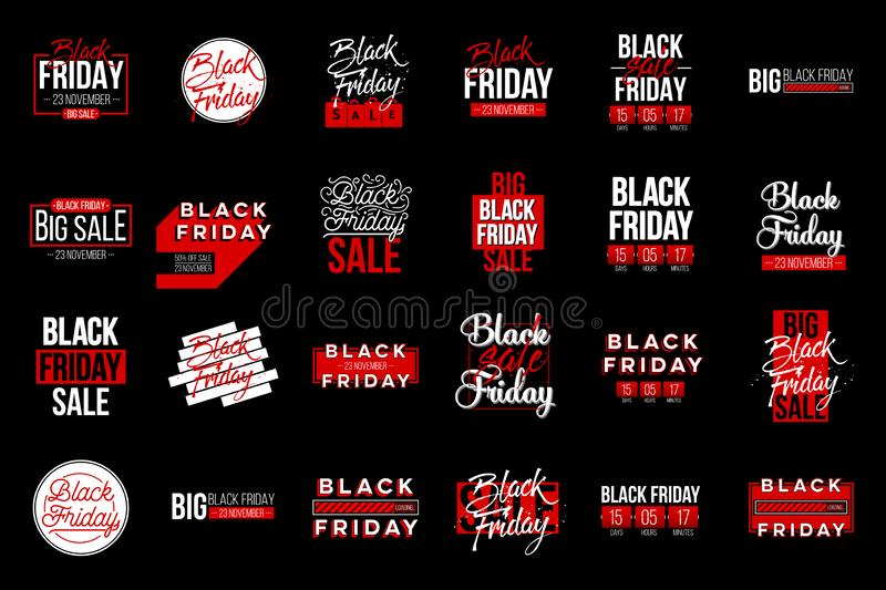 Abstract vector black friday sale lable tag set. For art template design, list, page, mockup brochure style, banner. Idea, cover, booklet, print, flyer, book royalty free illustration