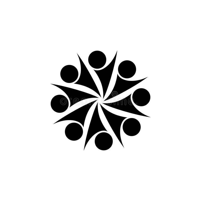 Abstract vector black and white logo design for movements, people unity. vector illustration royalty free illustration