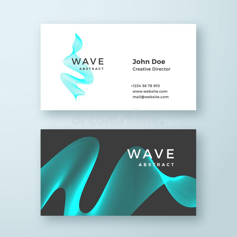 Abstract Vector Blend Wave Symbol Business Card Template. Elegant Curved Lines with Bright Blue Stationary Layout. Isolated stock illustration