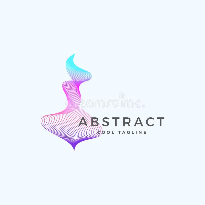 Abstract Vector Blend Wavy Symbol, Sign or Logo Template. Elegant Curved Lines with Bright Colorful Gradient. Isolated stock illustration