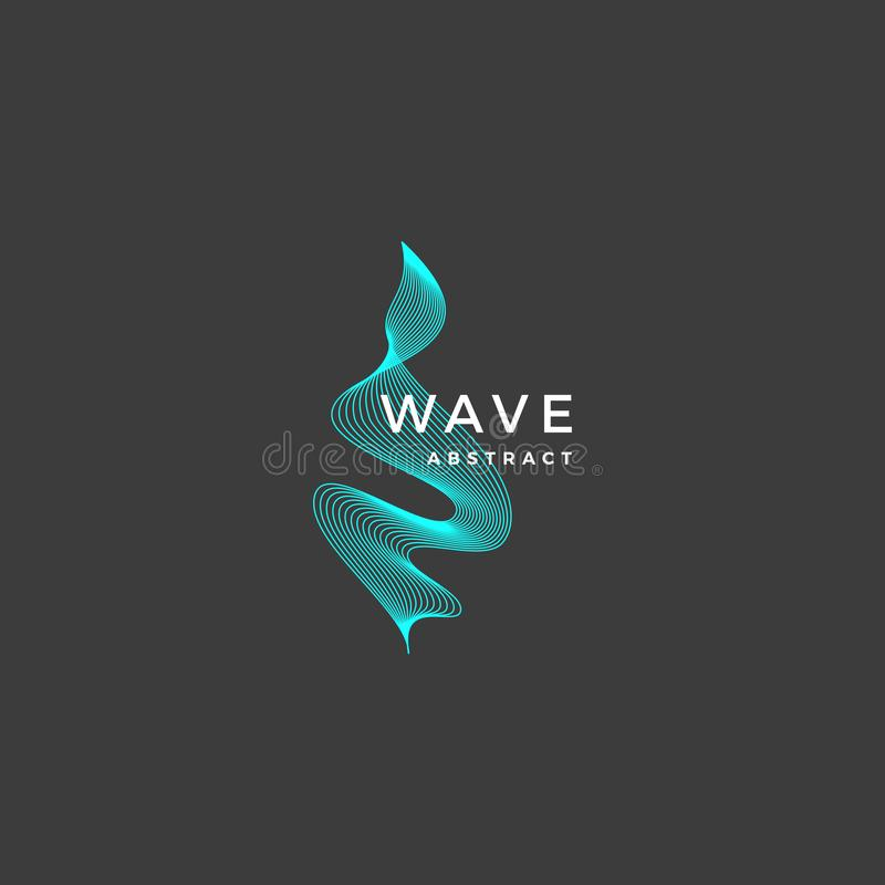 Abstract Vector Blend Wavy Symbol, Sign or Logo Template. Elegant Curved Lines with Modern Typography. Dark Grey Background stock illustration