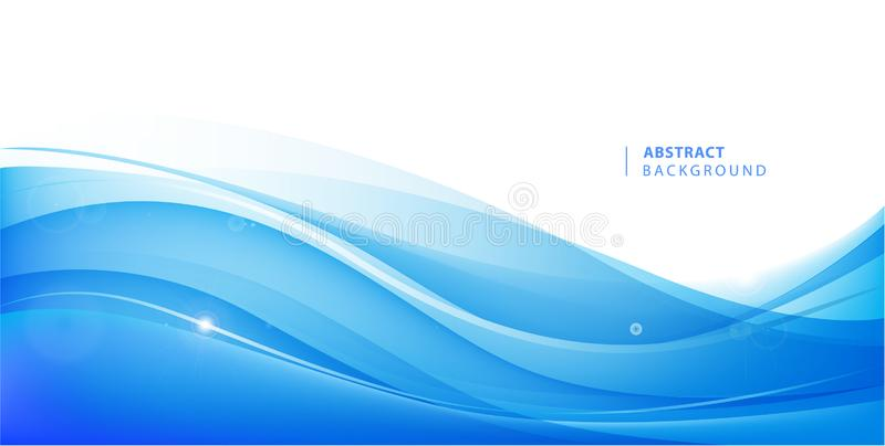 Abstract vector blue wavy background. Graphic design template for brochure, website, mobile app, leaflet. Water, stream. Abstract illustration royalty free illustration