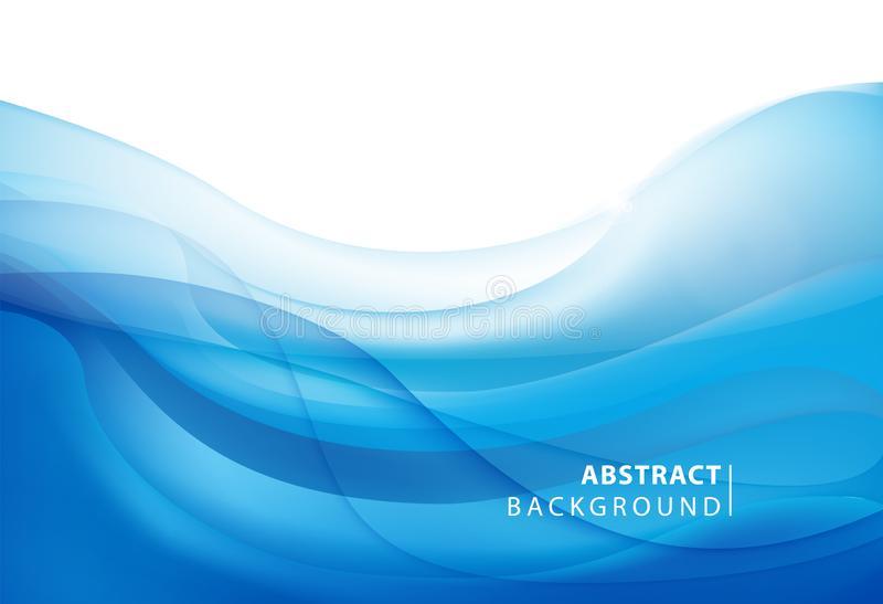 Abstract vector blue wavy background. Graphic design template for brochure, website, mobile app, leaflet. Water, stream vector illustration