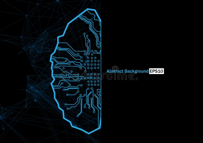 Abstract vector brain with circuit technology background. Digital concept background. illustration vector design vector illustration