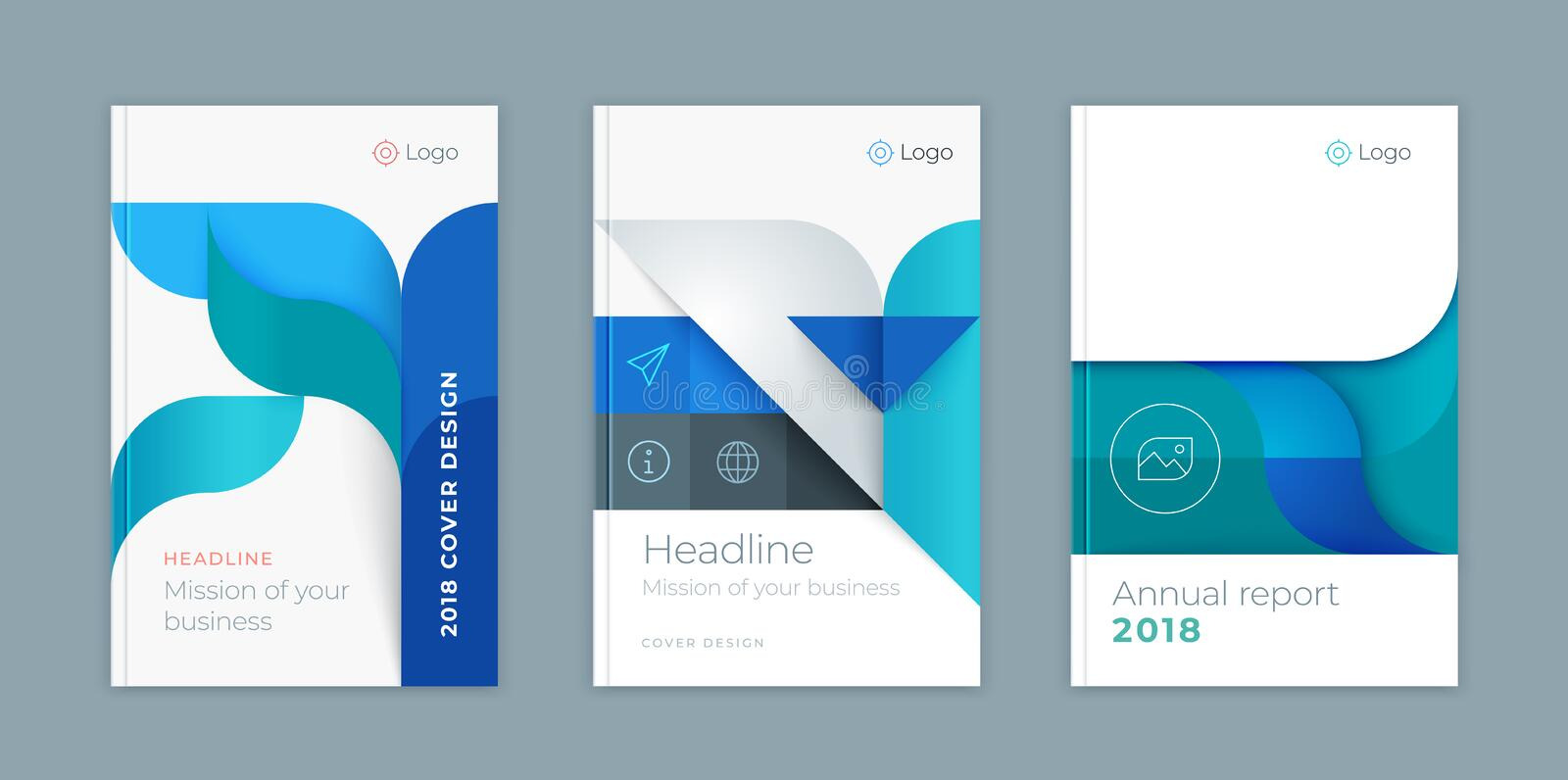 Abstract vector business template set. Brochure layout, cover modern design annual report, poster, A4 multicolored waves vector illustration