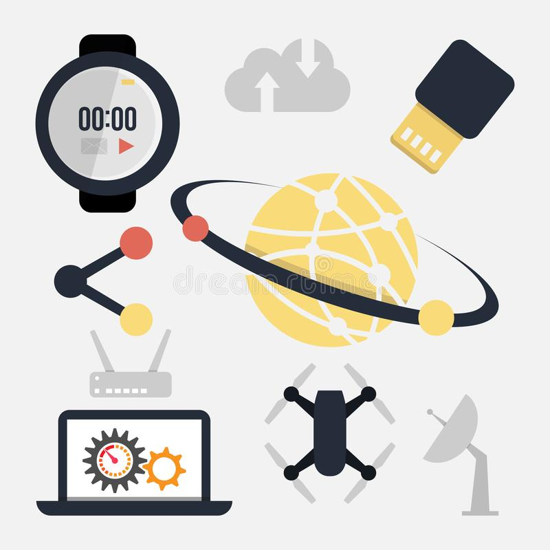Abstract vector collection of colorful flat science and technology icons stock illustration