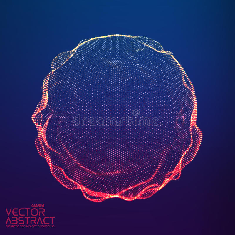 Abstract vector colorful mesh sphere on dark blue background. Futuristic style card. stock illustration