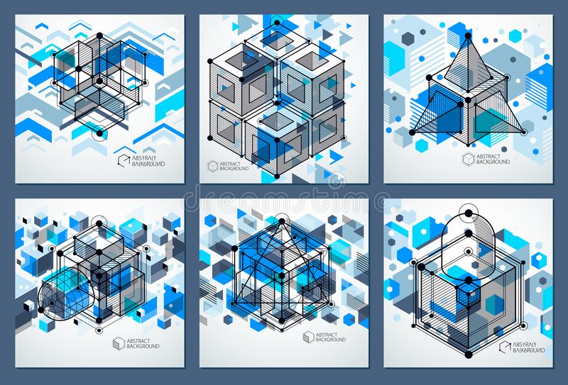 Abstract vector composition with simple geometric figures, symbols, art blue backgrounds set. Technical plan, abstract stock illustration