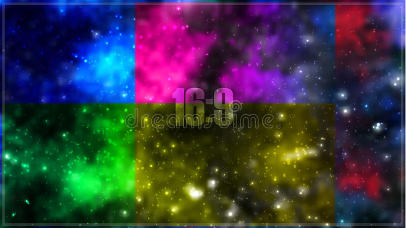 Abstract vector cosmic galaxy background with nebula, stardust, bright shining stars royalty free illustration