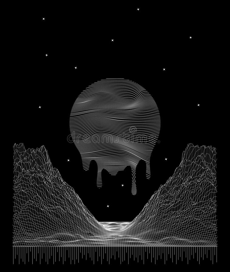 Abstract vector cyberspace space background. Mountain and sun landscape grid illustration. 3d technology wireframe. Vector. Digital mesh for t-shirt design vector illustration