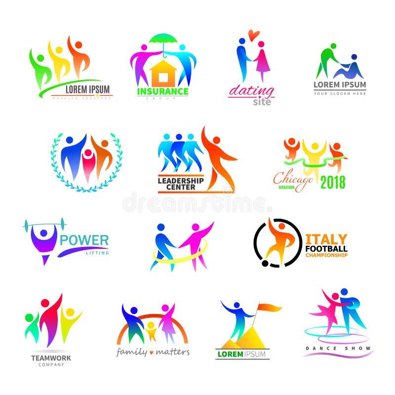 Abstract vector de persoonsteken van het mensenpictogram op embleem van groepswerk in bedrijf of geschiktheid logotype met sportm vector illustratie