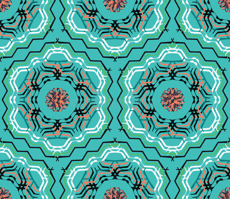 Abstract vector decorative ethnic floral colorful seamless pattern. royalty free illustration
