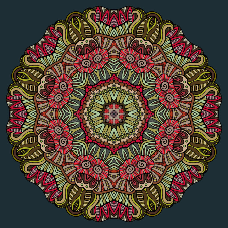 Abstract vector decorative floral ethnic colorful royalty free illustration