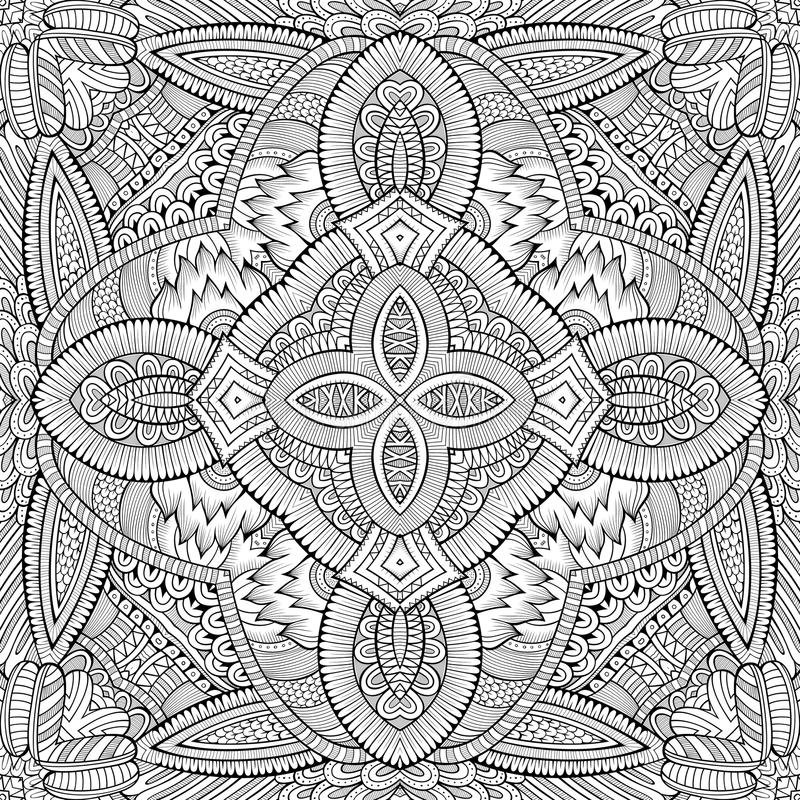 Abstract vector decorative nature ethnic hand. Drawn sketchy contour seamless pattern vector illustration