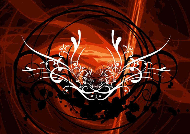 Abstract vector design. Vector illustration with floral motive and dark red background vector illustration