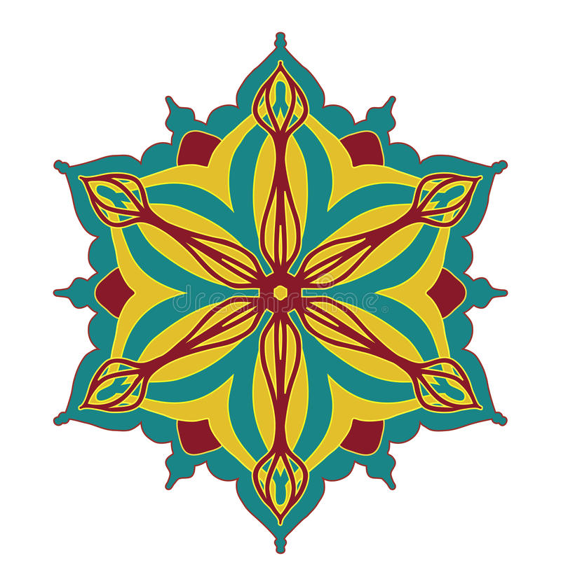 Abstract vector design element, flower shape symmetrical pattern in pretty red blue and yellow color combination stock illustration