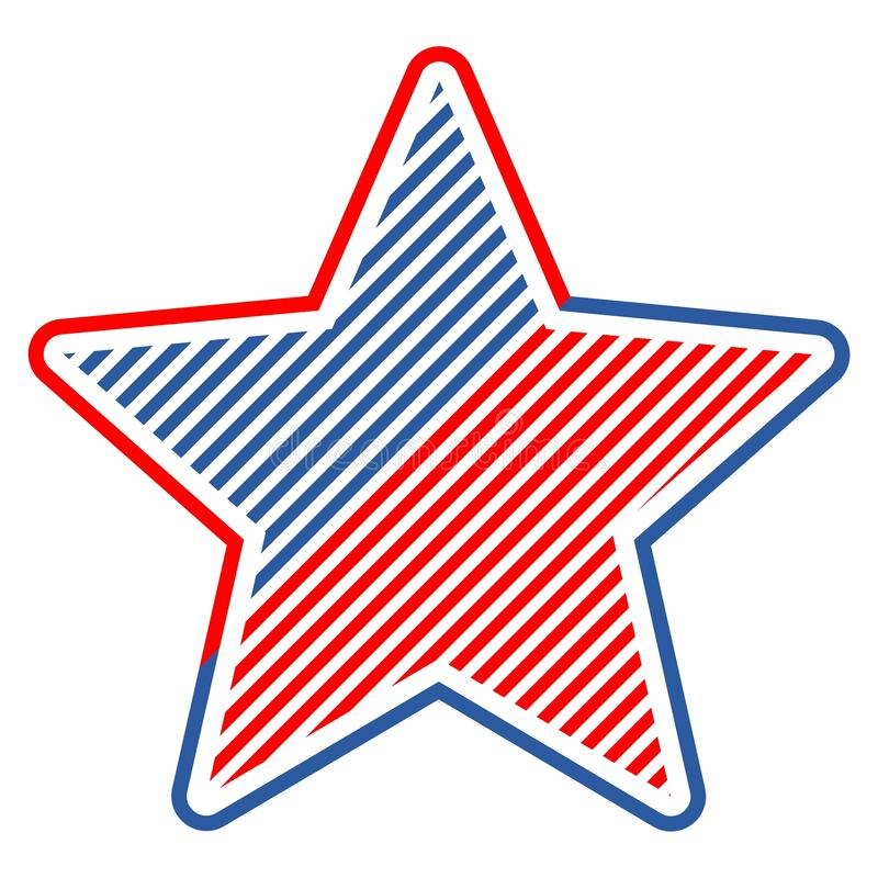The Abstract vector design element star with american flag stock illustration