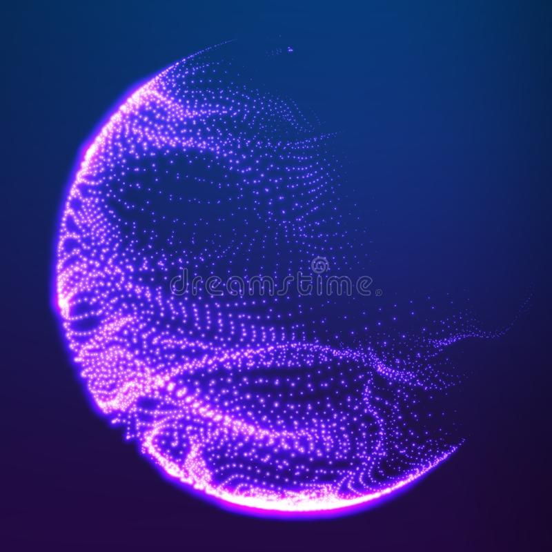 Abstract vector destroyed mesh spheres. Sphere breaking apart into points. Futuristic technology style. vector illustration