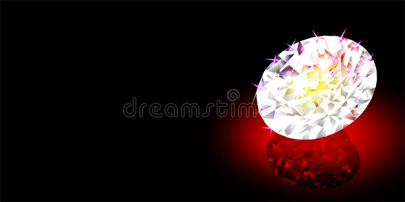 Abstract vector diamond with multicolored lighting effect and texture, vector illustration stock illustration
