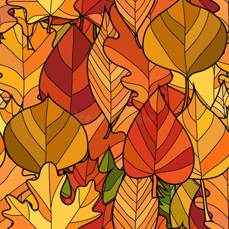 Vector doodle autumn leaves seamless pattern. Abstract vector doodle autumn leaves seamless pattern stock image