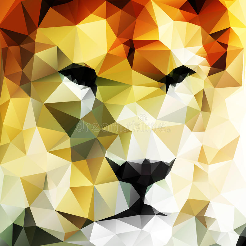 Abstract vector drawing of a lion's head. Made up of triangles stock illustration