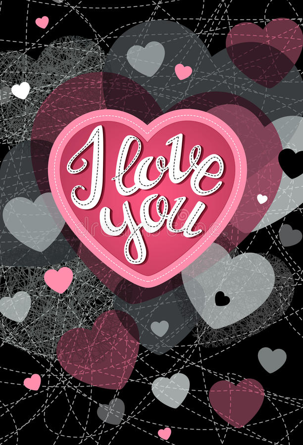 Abstract vector explosion background. Abstract vector explosion background Hearts, I love you, card, lettering, calligraphy Pink, black stock illustration