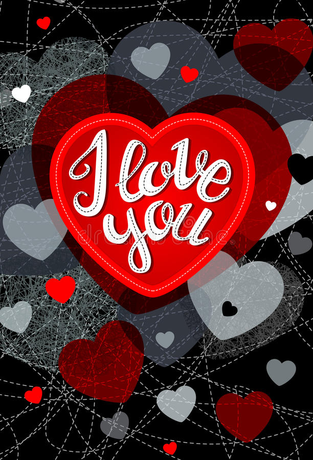 Abstract vector explosion background. Abstract vector explosion background Hearts, I love you, card, lettering calligraphy. Red, black royalty free illustration
