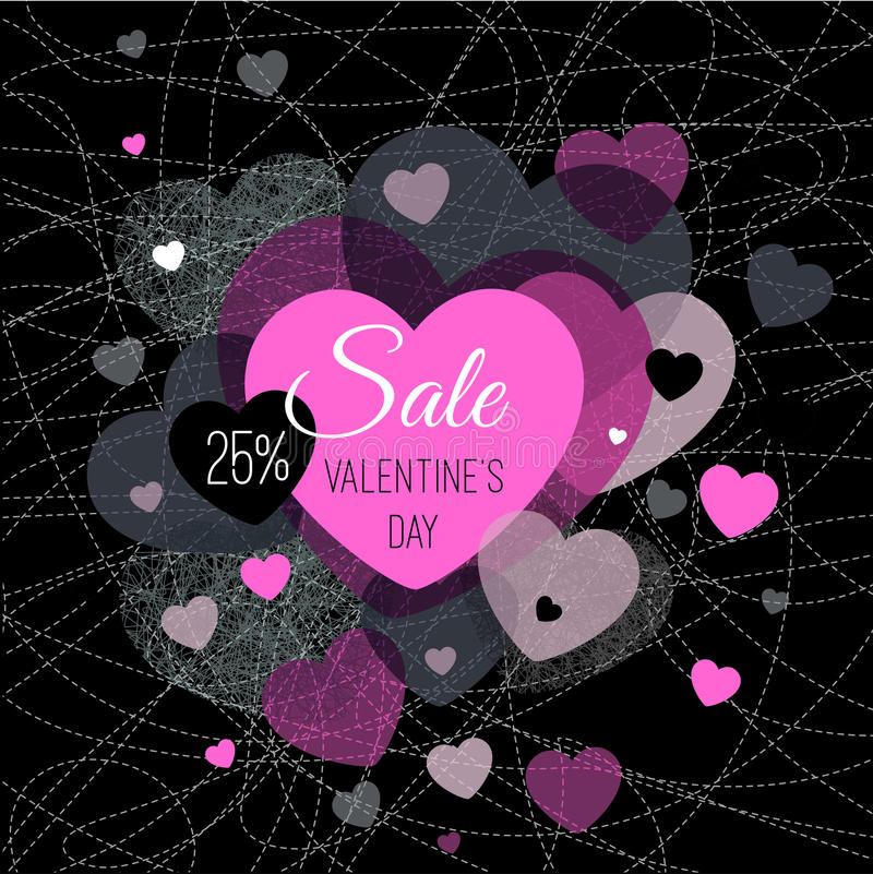 Abstract vector explosion background. Hearts, Valentines day, sale Pink, black royalty free illustration