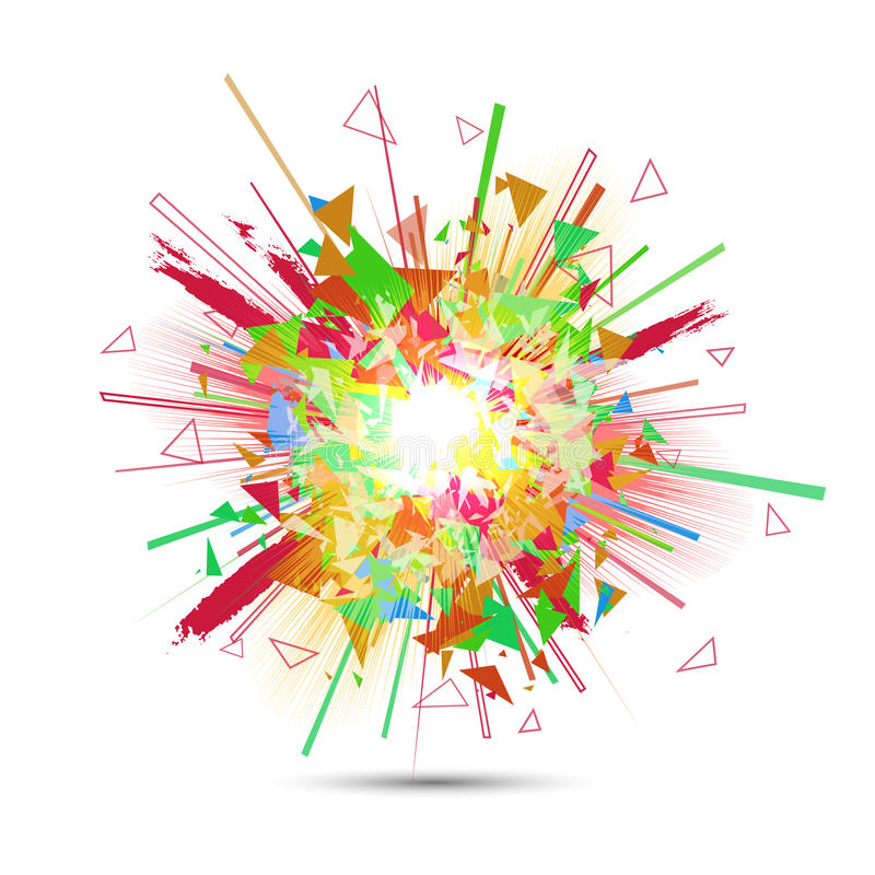 Abstract vector explosion. Colorful glowing blast. stock illustration