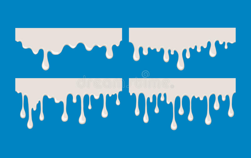 Abstract vector flow of milk. Drip and flow of milk. Abstract splash of white liquid. Drop and splashing cream or yogurt. Vector isolated illustration. Stream royalty free illustration