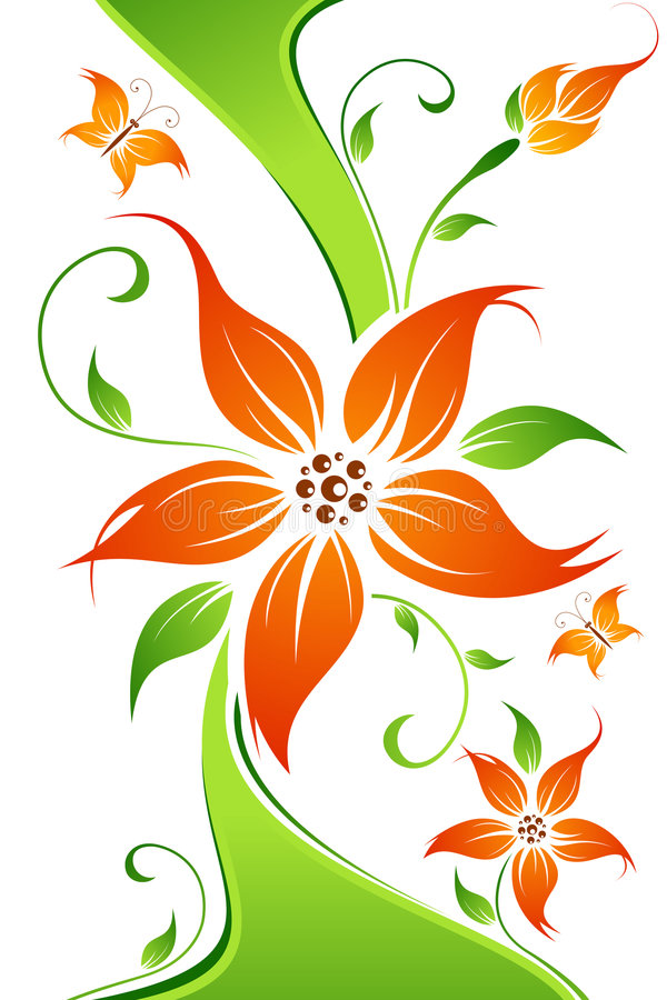 Abstract vector flower background with butterfly royalty free stock images