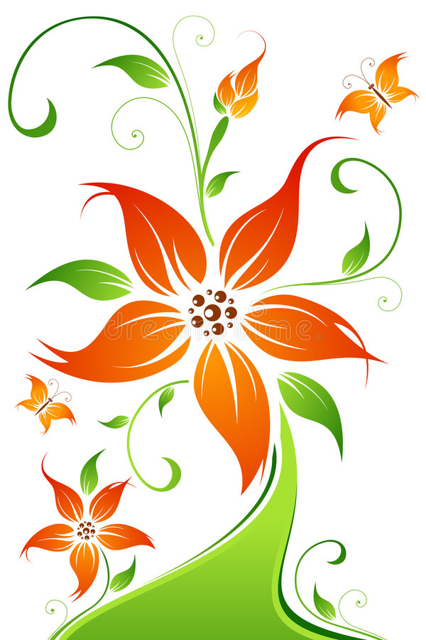 Abstract vector flower background with butterfly stock photography