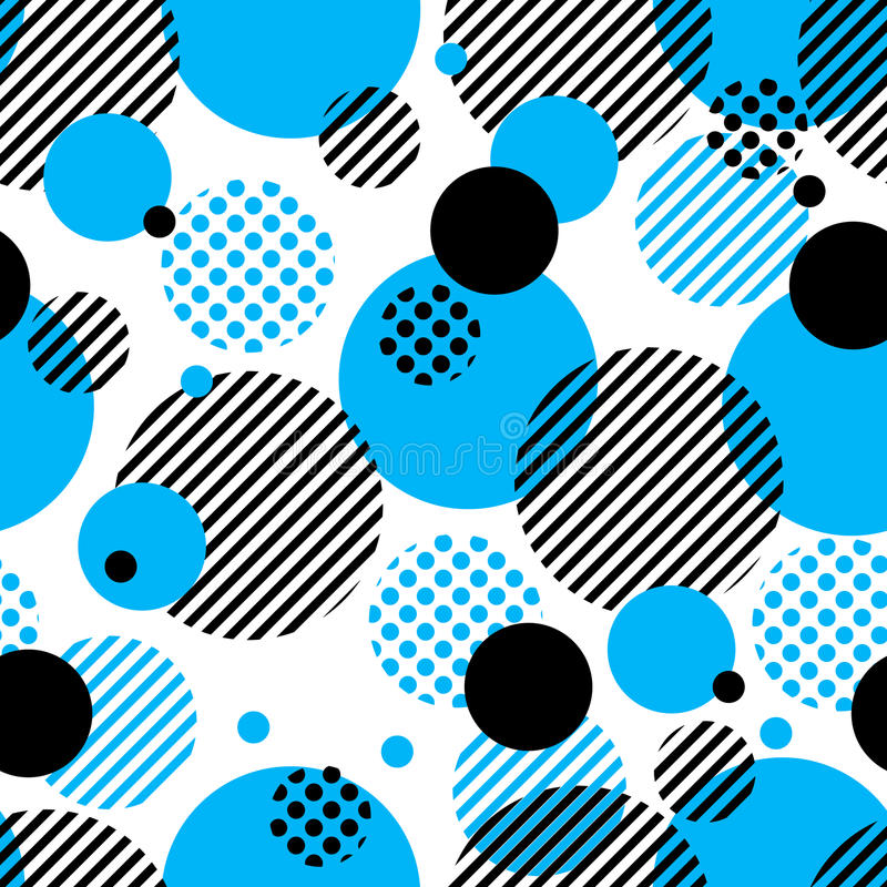 Abstract vector geometric pattern with simple radial shapes, dots, stripes, lines and circles. vector illustration