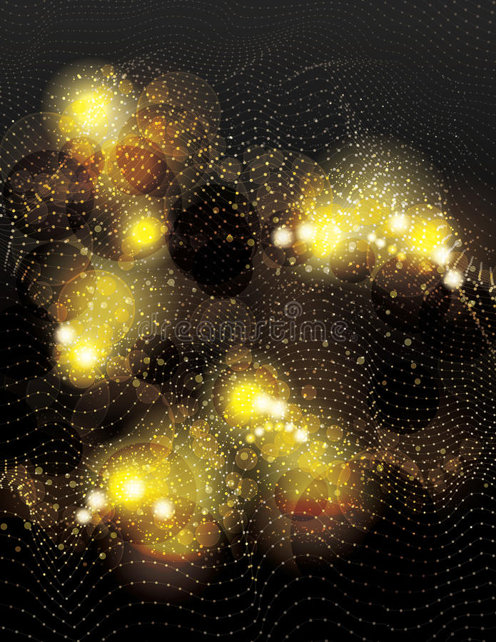 Abstract vector gold dotted light effect background. Beautiful abstract space vector background with glowing gold glitter light effects royalty free illustration