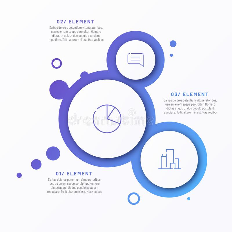 Abstract vector gradient minimalistic infographic template composed of 3 circles royalty free illustration
