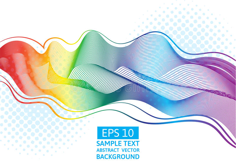 Abstract vector great rainbow waves colorful gradient line vector illustration