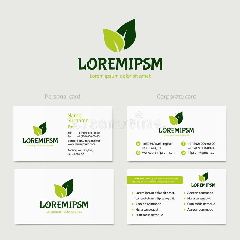Abstract vector green leaves, logotype concept isolated with business card template. Key ideas is health, beauty royalty free illustration