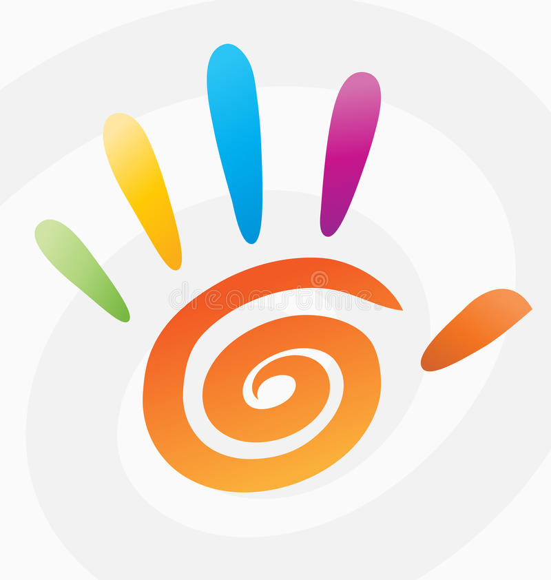 Palm high five 5 hand print vector spiral colored logo sign peace symbol icon graphic arts color abstract circle concept fingers royalty free illustration