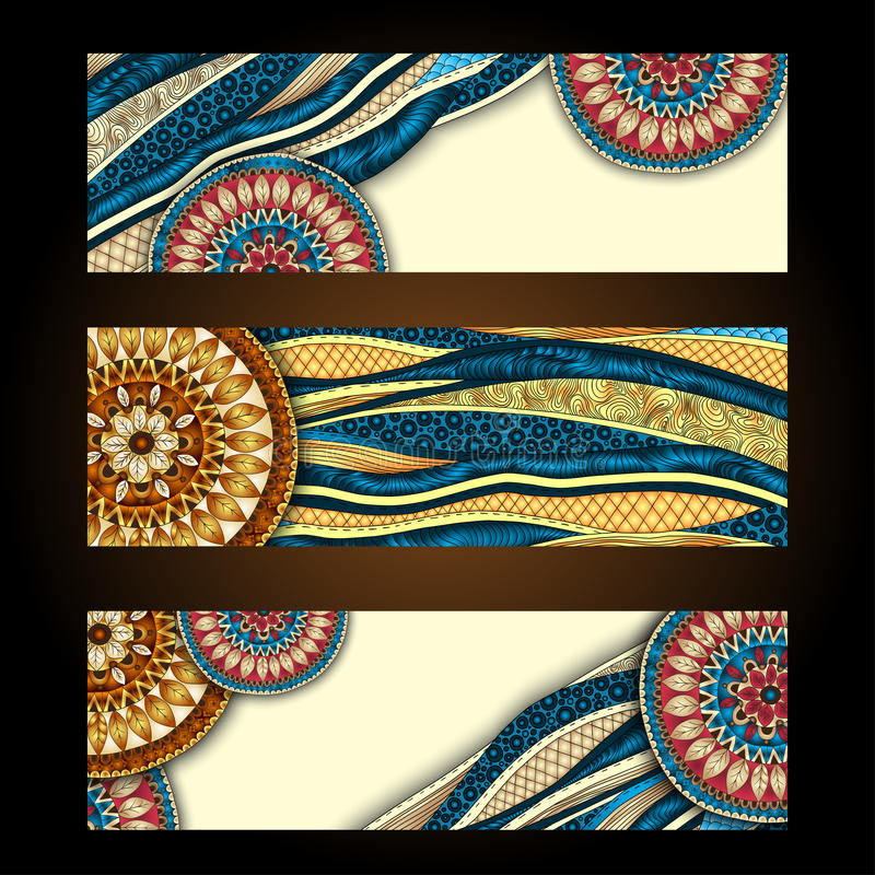 Abstract vector hand drawn ethnic pattern card set. This is file of EPS10 format stock photos