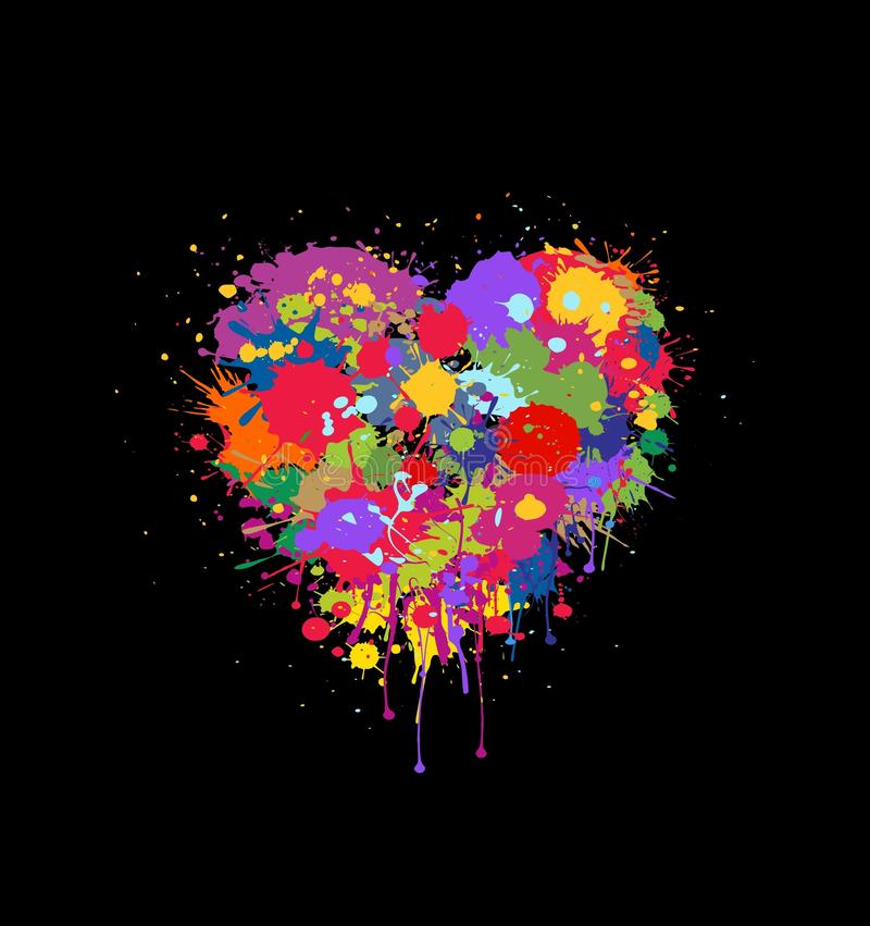 Abstract vector heart made of colorful splashes of paint on black background royalty free illustration