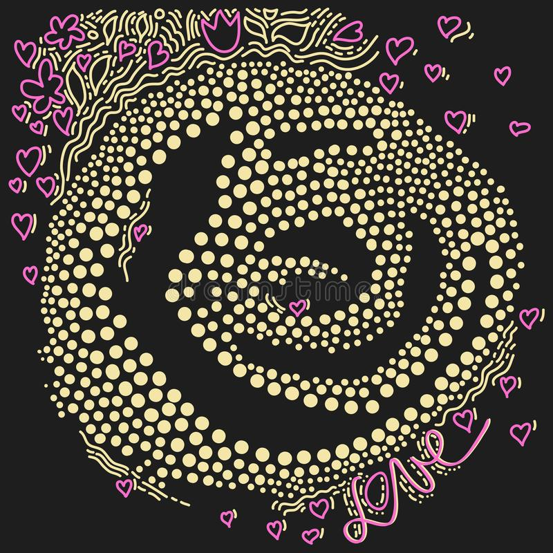 Abstract vector with hearts, flowers, leaves, wavy lines, circles and dots on dark background. royalty free illustration
