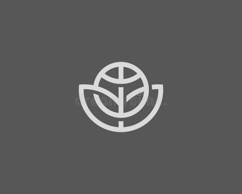 Abstract vector het embleemontwerp van de bolbloem Globale bladeco logotype Het lineaire symbool van het de balpictogram van het  stock illustratie