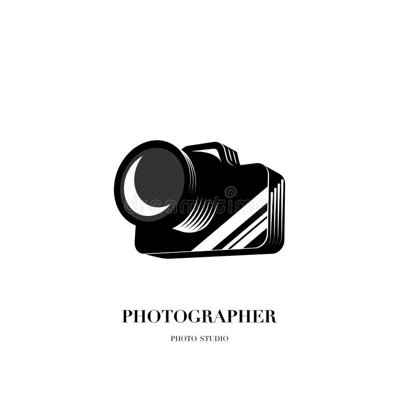 Abstract vector het ontwerpmalplaatje van het cameraembleem voor professionele pho stock illustratie
