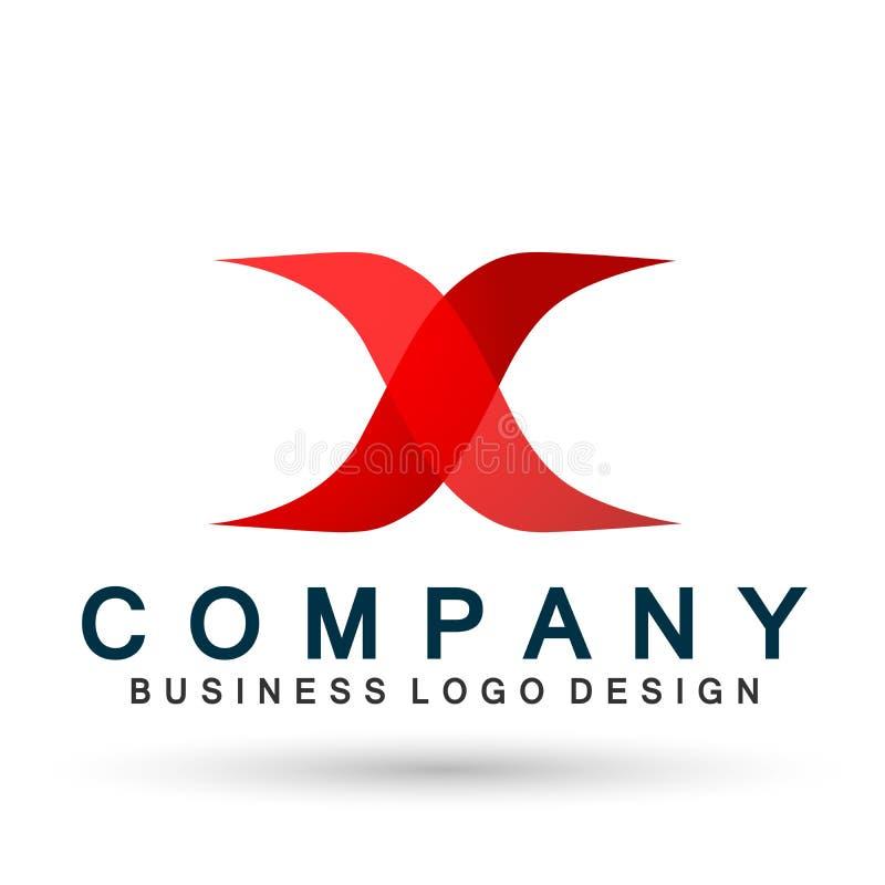 Abstract X-vector het pictogramelement van de embleembrief in rood xlogoconcept voor bedrijf op witte achtergrond vector illustratie