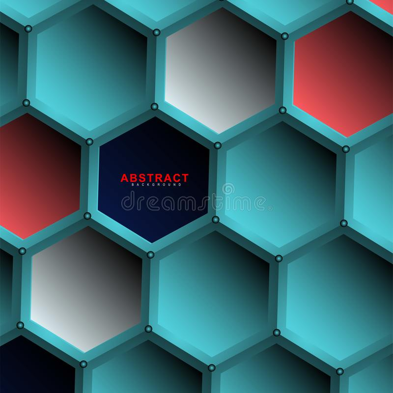 Abstract vector hexagonal geometry background. Surface polygon pattern with hexagon shadows, honeycomb. 3D design technology vector illustration