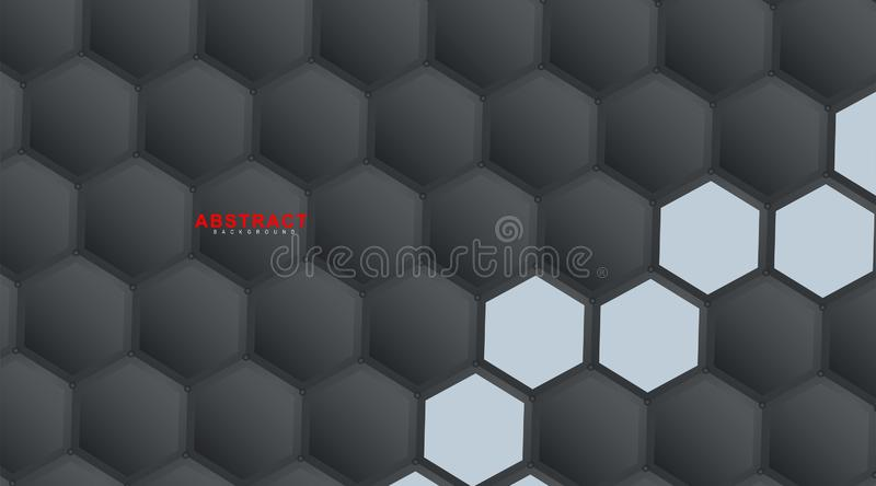 Abstract vector hexagonal geometry background. Surface polygon pattern with hexagon shadows, honeycomb. 3D design technology stock illustration