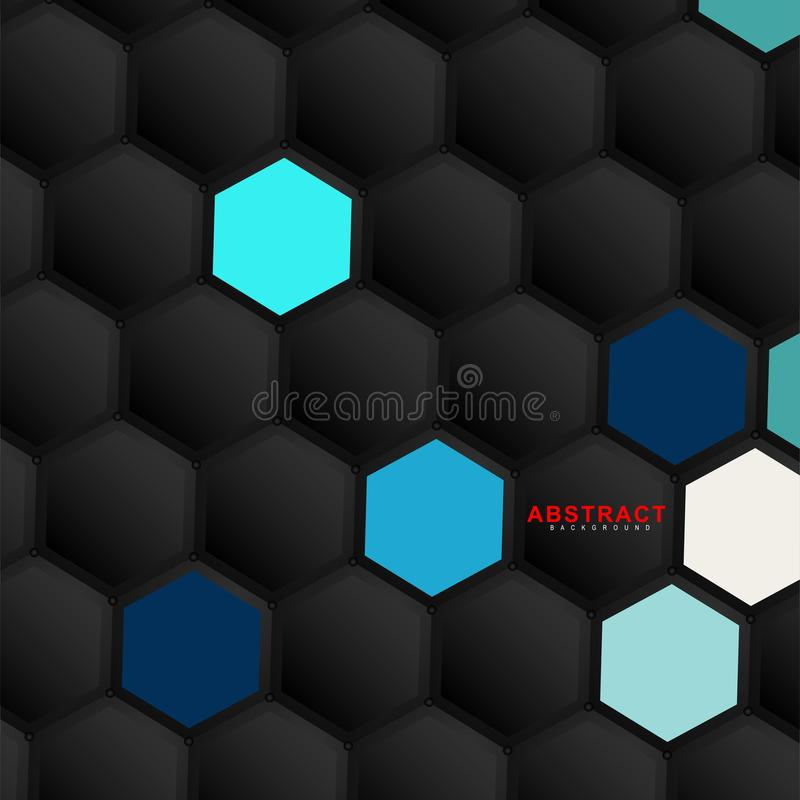 Abstract vector hexagonal geometry background. Surface polygon pattern with hexagon shadows, honeycomb. 3D design technology royalty free illustration